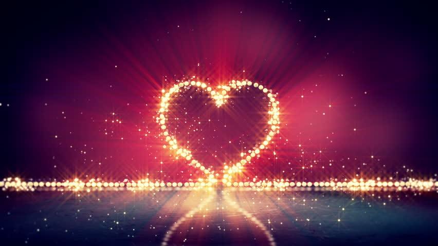 Bokeh Heart Shape Of Light Background Stock Footage Video: Heart Shape Glowing Lights. Computer Generated Seamless