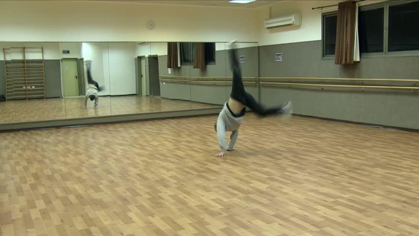 Break Dancer trains in the gym