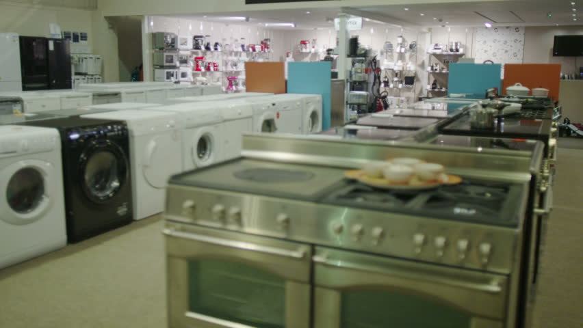 4k customers shopping in a store selling kitchen - Kitchen appliances store ...