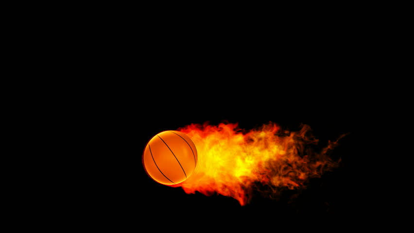 Basketball fireball in flames on black background
