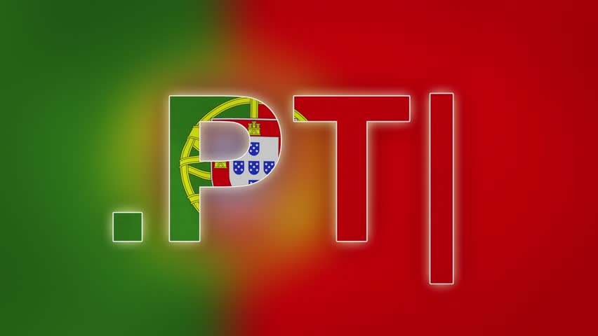 """PT - internet domain of Portugal. Typing top-level domain """".PT"""" against blurred waving national flag of Portugal. Highly detailed fabric texture for 4K resolution. Clip ID: ax1003c"""