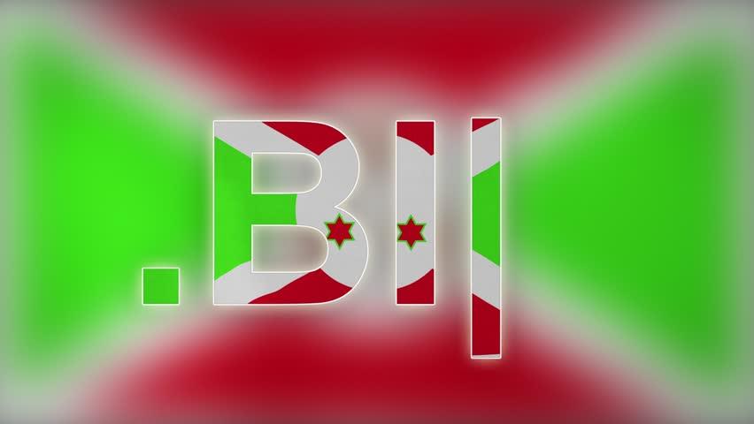 "BI - internet domain of Burundi. Typing top-level domain "".BI"" against blurred waving national flag of Burundi. Highly detailed fabric texture for 4K resolution. Source: CGI rendering. Clip ID: ax856c"