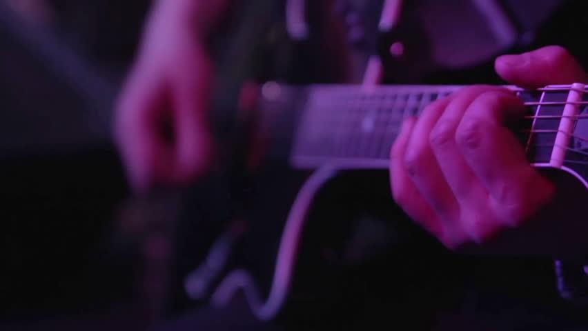 Electro-acoustic guitar closeup