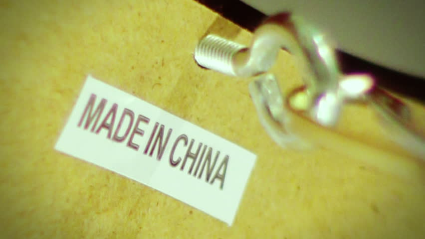 Made in China label on product