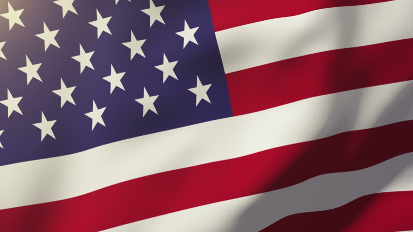 United states flag waving in the wind. Looping sun rises style.  Animation loops.