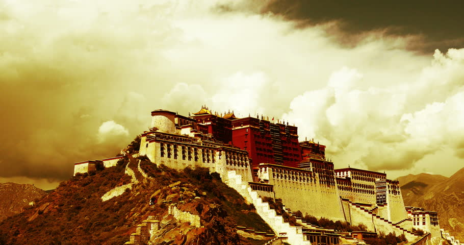 OCTOBER 09, 2014:4k Potala in Lhasa,Tibet,time lapse of puffy cloud mass. gh2_08944_4k