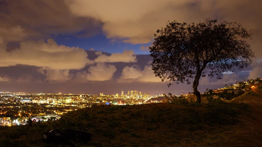 scenic storm clouds passing over los angeles cityscape. Black Bedroom Furniture Sets. Home Design Ideas
