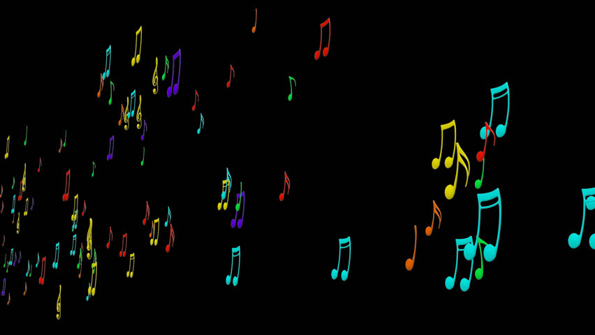 Rainbow Notes On Light Background Stock: Animated Flying Colorful Music Notes On Transparent