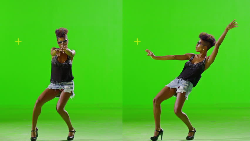 FEW SHOTS! African Stylish Girl Dancing On Green Screen. Real Strobe Light On Body. Slow Motion. Few shots. - HD stock footage clip
