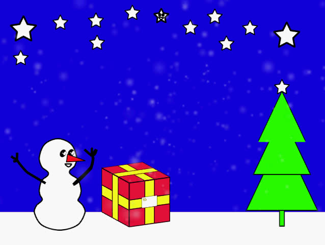 A Animated Christmas Scene With Moving Snow And A Moving