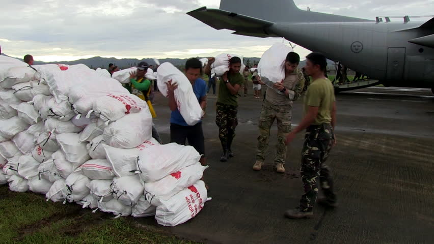 CIRCA 2010s - Emergency supplies are delivered to remote villages in the Philippines during Typhoon Haiyan.