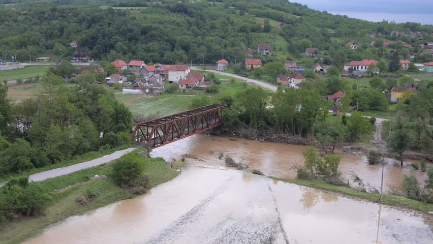 Aerial view on heavily flooded area in Serbia 2014.