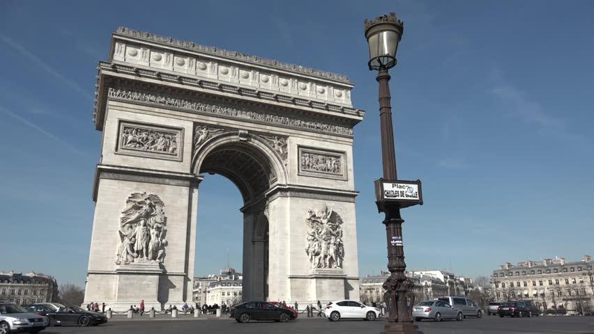 paris france march 04 arc de triomphe paris monument charles de gaulle 60fps the arc de. Black Bedroom Furniture Sets. Home Design Ideas