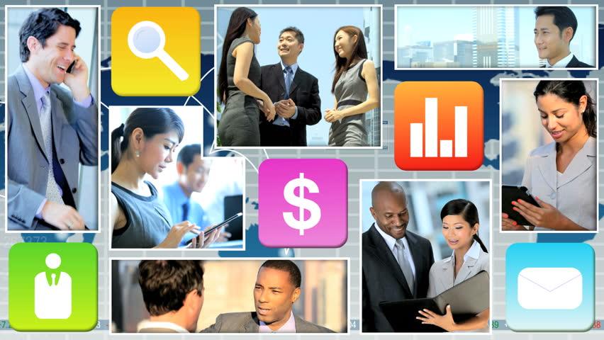 Montage Motion Graphics USA businesswoman touchscreen Technology worldwide data