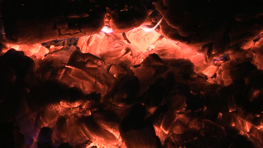 Embers of coal background. Campfire closeup. Natural background - HD stock footage clip
