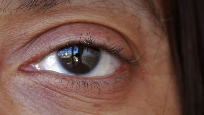 Black African American ethnic woman's eye closeup