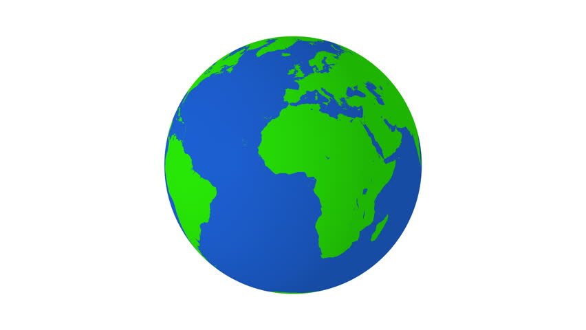 Rotating green and blue earth 4K animation with white background