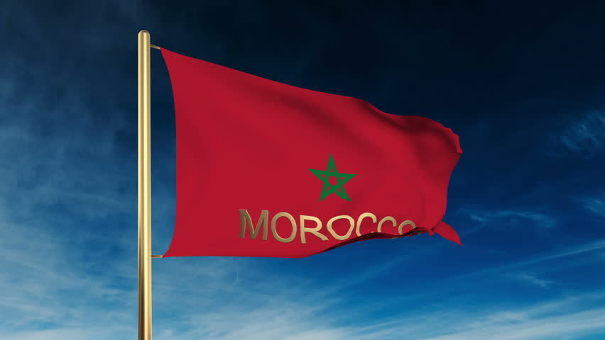 Morocco flag slider style with title. Waving in the wind with cloud background animation