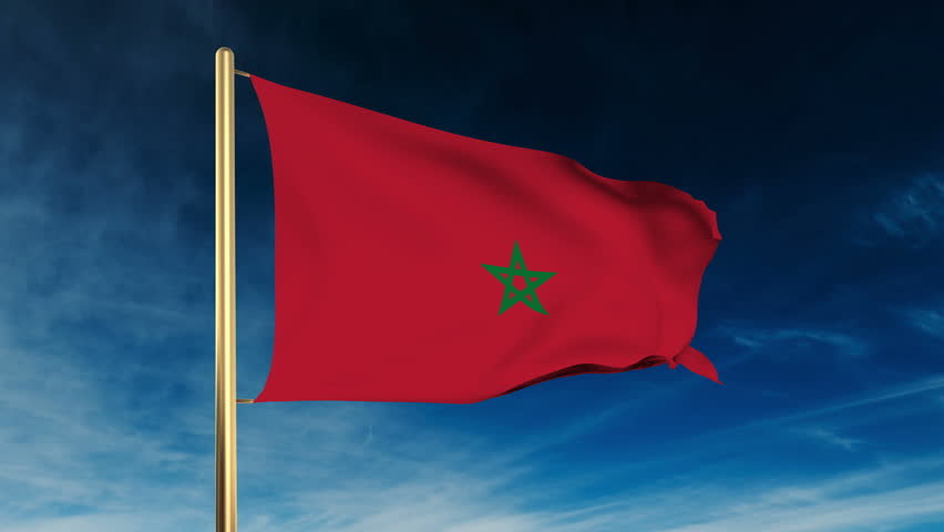 Morocco flag slider style. Waving in the wind with cloud background animation