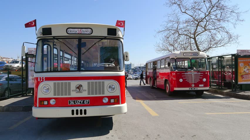 ISTANBUL - APR 1, 2015: Nostalgic buses back on Istanbul roads. Leyland well known for being long-lived and safe bus rides till 1992. Levent labeled bus was manufactured specially for Turkey in 1968