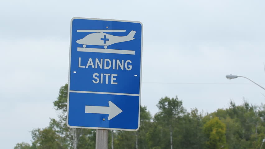 Helicopter landing site sign. North Ontario, Canada.