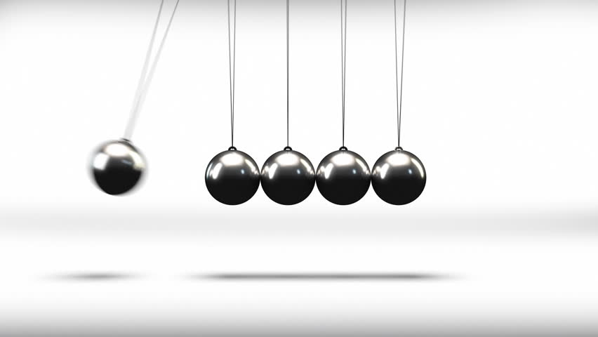 The newton cradle pendulum balls swinging back and forth in a loop - HD stock footage clip