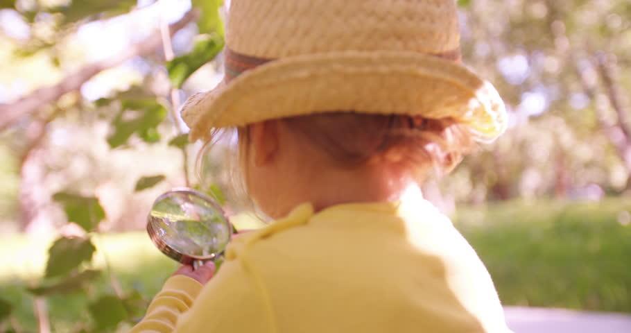 Cute toddler curiously investigating a leaf with a magnifying glass in a park