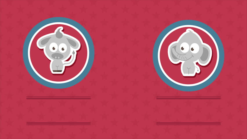Republican and democrats icons, Video animation, HD 1080
