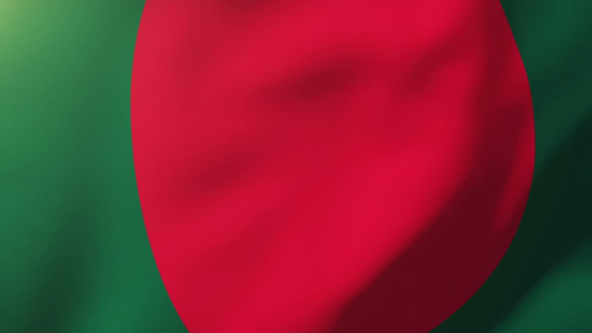 Bangladesh flag waving in the wind. Looping sun rises style.  Animation loop
