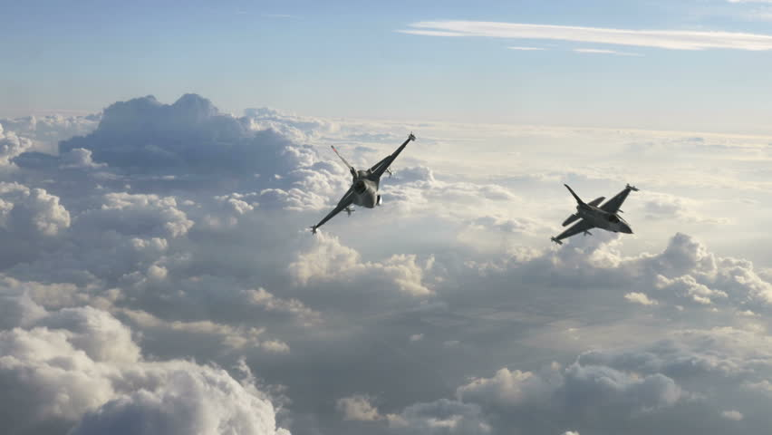 Two F-16 Fighter Jets Fly Below the Camera High-quality VFX ready for your project.