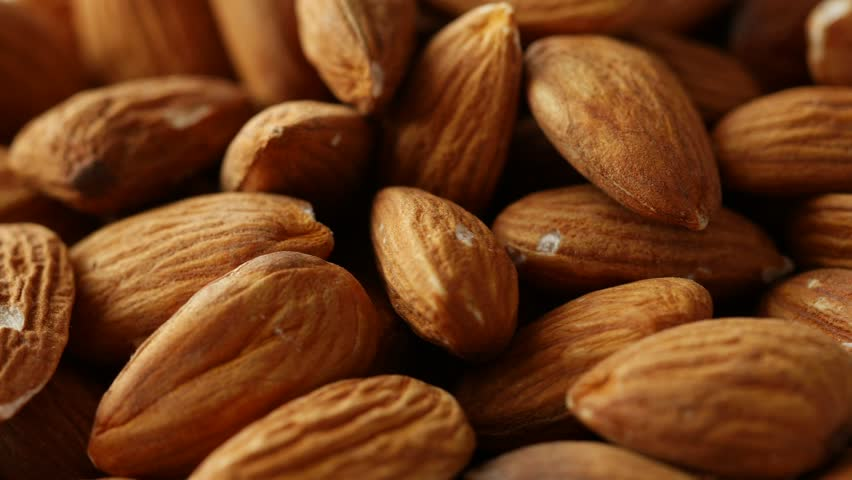 Almonds rotating close up, 4k, UHD