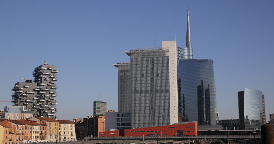 MILAN, ITALY - MARCH 8, 2015 Milan City Center Skyline Corporate Skyscrapers Business Towers Office Buildings Establishing Shot ( Ultra High Definition, UltraHD, Ultra HD, UHD, 4K, 2160P, 4096x2160 )