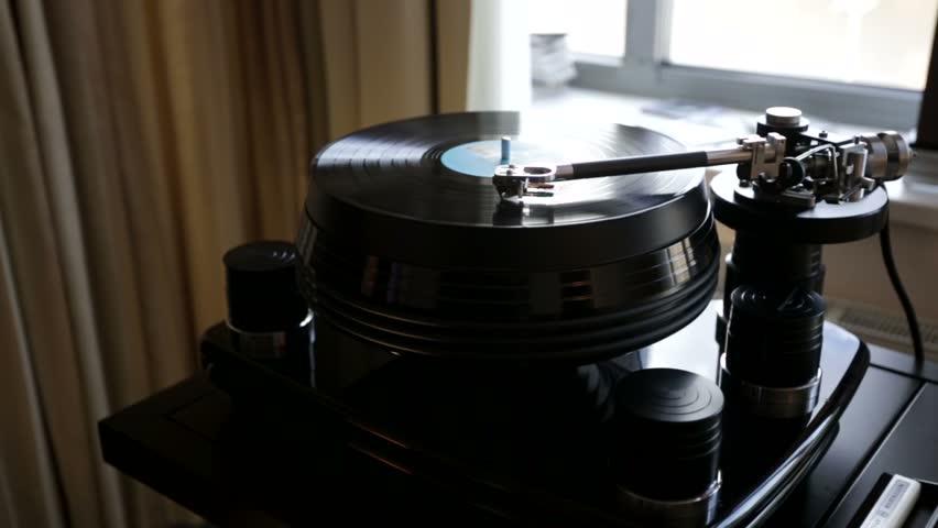 Vinyl rotating on a turntable