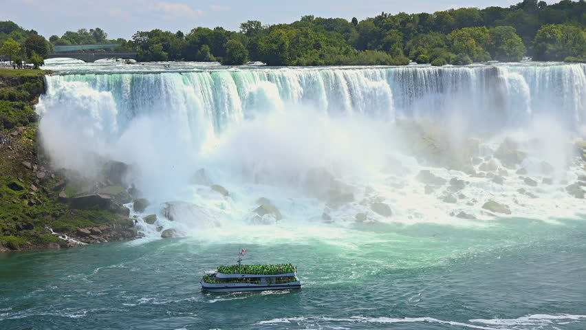 NIAGARA FALLS,CANADA-APRIL 15,2015: Maid of the Mist boat transporting tourists inside the Niagara Falls river. The Maid of the Mist is a boat tour of Niagara Falls, New York, USA