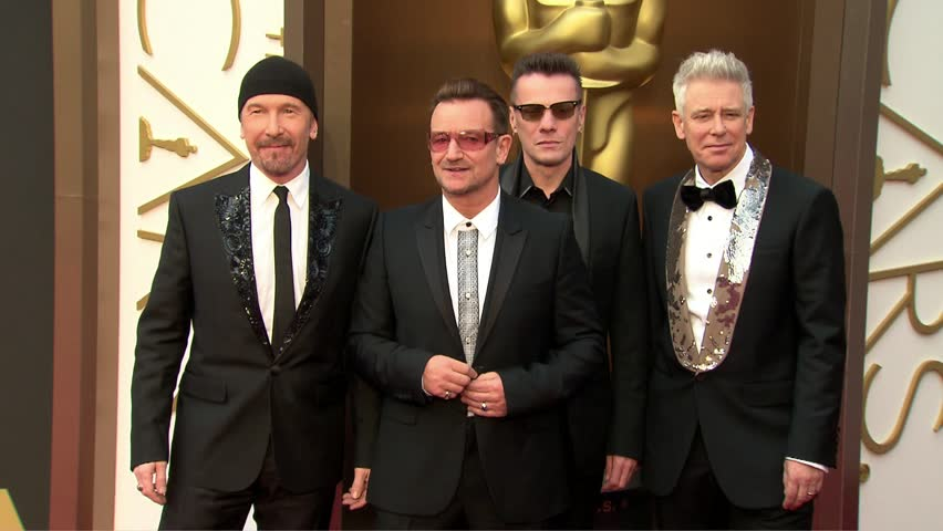 Hollywood, CA - March 02,2014: U2 and Bono and Larry Mullen Jr and The Edge and Adam Clayton at Academy Awards 2014, Dolby Theatre