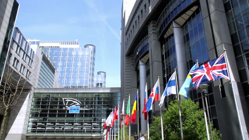 European countries flags waving In the wind In front of European Parliament (Brussels, Belgium). - HD stock footage clip