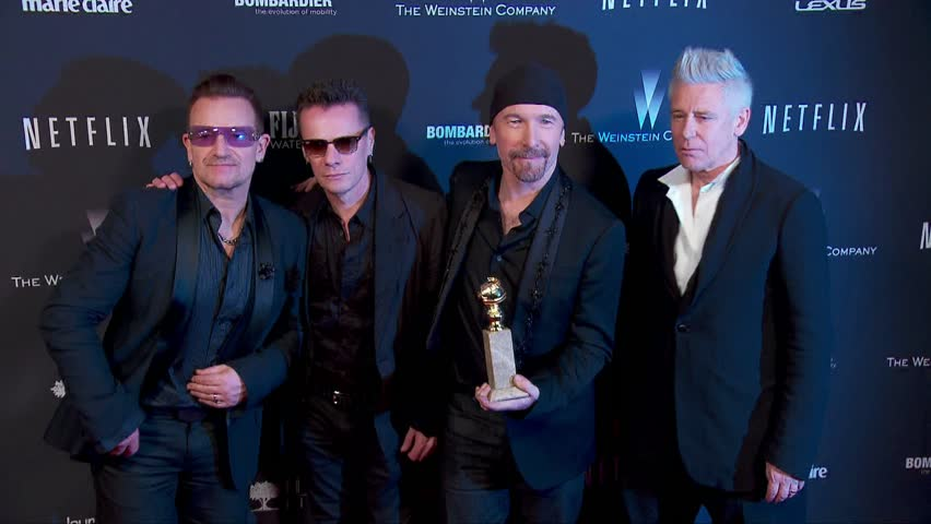 Beverly Hills, CA - January 12,2014: U2 and Bono and Larry Mullen Jr and The Edge and Adam Clayton at Weinstein Company's 2014 Golden Globe After Party, Beverly Hilton Hotel