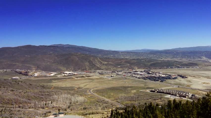 Park City, Utah - April, 2015 - UHD high angle view of northern Park City, Utah.