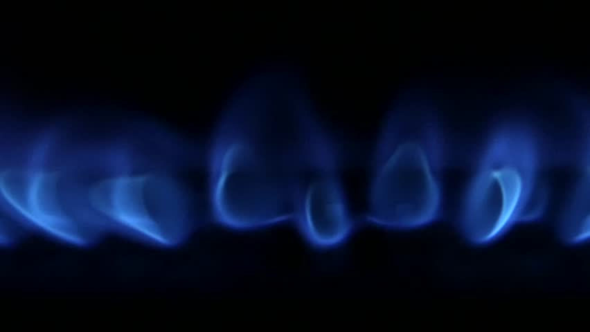 Blue Natural Gas Flames. Slow Motion - HD stock footage clip