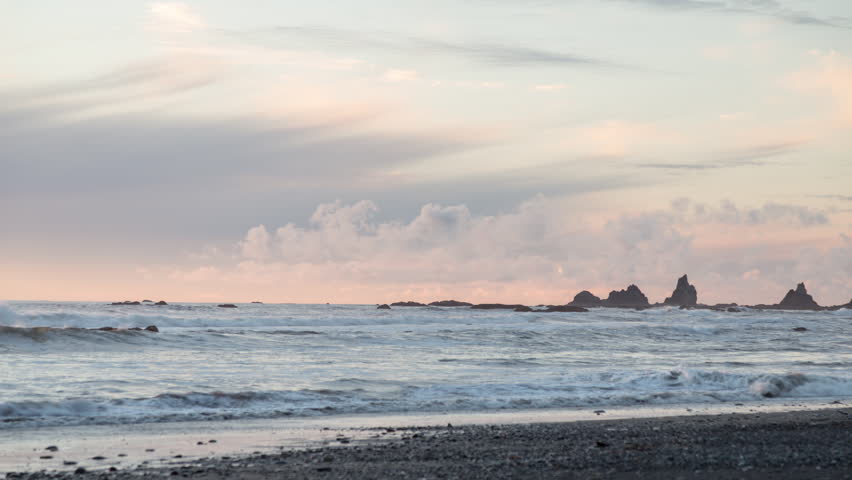 Time lapse of cloudscape movements at Rialto Beach, Olympic National Park, Washington State, USA