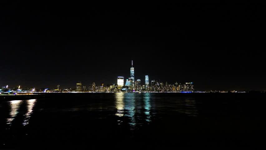 New York City Manhattan at Night over Hudson River  Time Lapse 4k