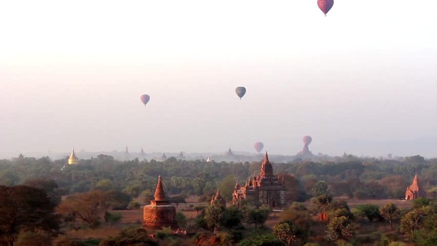Hot Air Balloons in the air at Sunrise over Bagan, Myanmar (Burma). Beautiful scenery over Bagan's temples 3