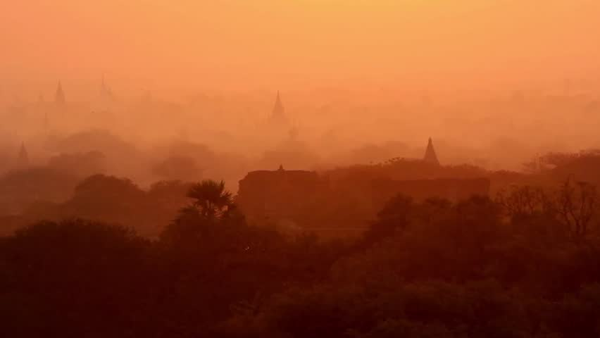 Magic and unique sunrise video in Bagan, Myanmar (Burma). Beautiful scenery over Bagan's temples. Looks like from fairy tales.