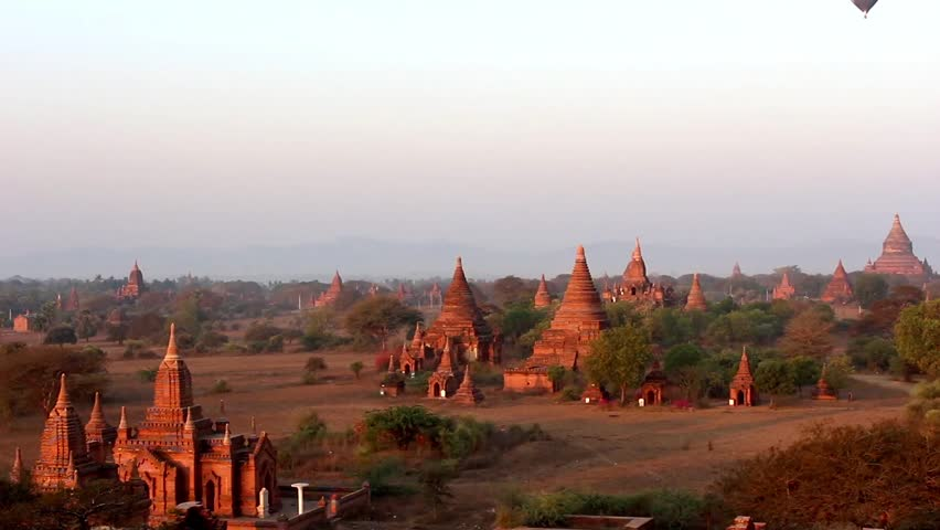 Bagan Temples - View over temples in Bagan, Myanmar (Burma) in the early morning. Beautiful scenery over Bagan's temples.