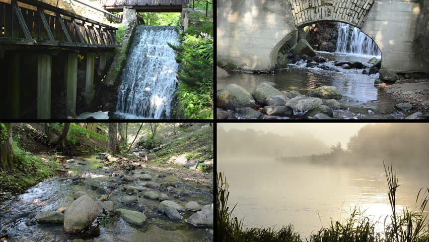 Flowing water. Brook waterfall stream between stones. Dense fog on river water in early morning. Montage of video footage clips collage. Split screen. Black angular frame. Full HD 1080p - HD stock footage clip